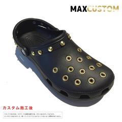 クロックス crocs パンク 純金メッキ カスタム 黒金 22-29 新品