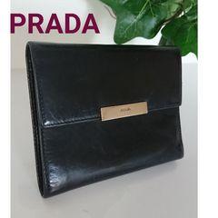 PRADA ビンテージ レザー 財布 ブラック 黒 レディース メンズ