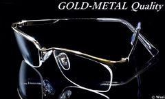 上品な「控えめゴールド」/UVカット/ナイロール/高品質/伊達メガネ/ケース付/gdm04