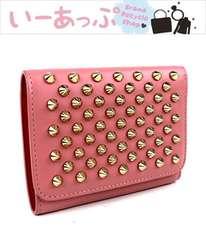 クリスチャンルブタン 三つ折り財布 ミニ財布 ピンク×赤 美品 j185