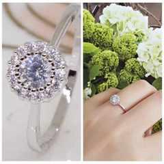 指輪18KRGPプラチナ高級CZ太陽花上品リングyu1039e