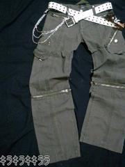 ■LOWBOX■膝ジッパー(4way)★デザインポケット*ミリタリー*カーゴパンツカーキL