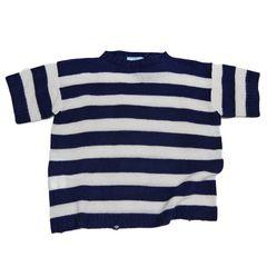新品プラダPRADAカシミア混 半袖セーター ボーダーネイ