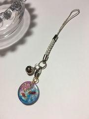 ★和 丸型 桜と金魚のレジンストラップ 金 銀 さくら �B