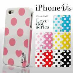 iPhone4/4S対応カバー★ラブドット★液晶クリーナー付BK