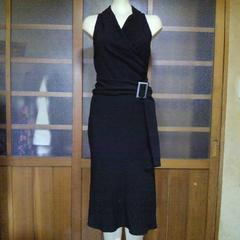 ZAZIE noirブラック シンプル ドレス・ワンピース ベルト付き