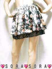 【CECIL McBEE/セシルマクビー】裾レース♪サテン花柄スカート