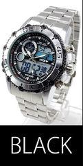 NEW★アナログ&デジタル・ビッグフェイス★腕時計FSMB1-BK