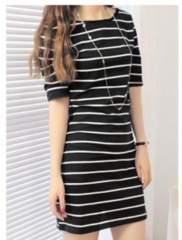 新品【6972】黒白ボーダーラインの五部袖チュニックシャツ