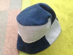 パッチワーク風帽子☆ブルー