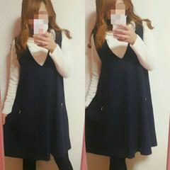 ネイビー 秋冬ジャンパースカート