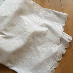 *美品 薔薇柄ベランダ用レースカーテン2枚