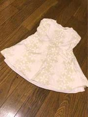 白に淡い薄い緑系花柄リボン付き可愛いワンピースサイズ95