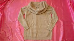 フォーエバー21ベージュオフショルダータートル華奢見せセーター