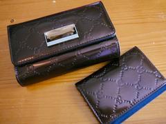 ピンキー&ダイアン牛革折財布+パスケース(エナメルブラウン)