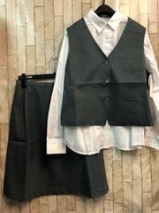 新品☆17号ベストスーツお仕事オフィス♪白シャツ付き☆n485