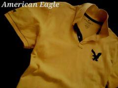 【アメリカンイーグル】Vintage Classic Fit ビッグロゴ ポロシャツ L/Yellow
