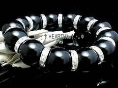 天然石★16ミリ黒瑪瑙AAA銀色ロンデル数珠