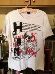 白ドクロ柄半袖TシャツサイズM
