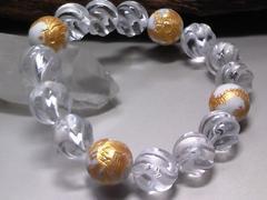 四神獣ハウライト12ミリ§トルネード水晶12ミリ数珠