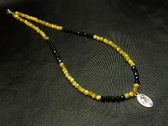 マリアプレート(メダイ)×ゴールデンタイガーアイ×カットオニキス数珠ネックレス