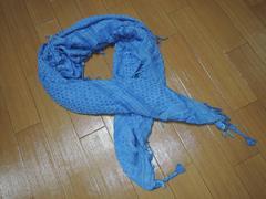 Glambグラム大判ストール ブルー系フリフリ