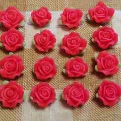 約 1.3 cm ☆ 16 コ ☆ (レッド) 樹脂薔薇