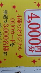 4種のオリジナルQUOカード4000円分*3000名様当たる*1ロ