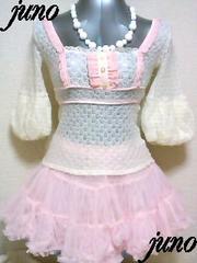 リズリサ総レースラメかぎ編みシフォンフリルサテンバルーン七分袖ニットカットソー白ピンク姫ロリ