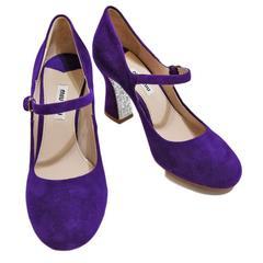 新品ミュウミュウmiu miuスエード ストラップシューズ(靴)紫#35
