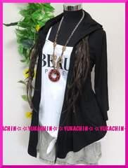 秋新作◆大きいサイズ3Lブラック◆腕まくり付◆ストレッチトッパーカーデ