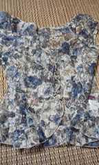 ブルー系 花柄模様 Tシャツ M