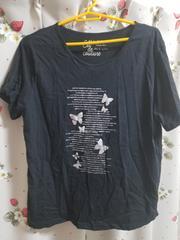 大きいサイズ☆蝶々プリントTシャツ★3L