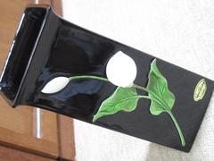 未使用☆花モチーフ*花瓶*シック(ブラック系)加藤工芸