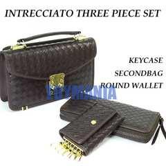 新品 編み込み 3点セット イントレチャート ビジネスバッグ 長財布キーケース メンズ茶