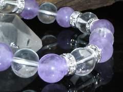 10ミリ§ラベンダーアメジストx本水晶§銀ロンデル