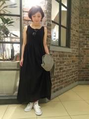 LEPSIM◆カットソーとジョーゼットの紺×黒マキシ丈ワンピース