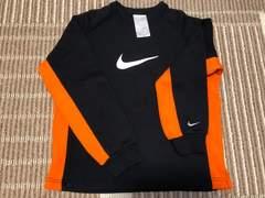 NIKE 黒×オレンジ裏起毛トレーナー S 130-140 美品 ナイキ