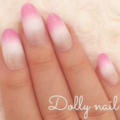 みぢょ!短めオーバル白ホワイト&ブリリアントピンク2色グラデーション可愛いシンプル