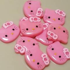 L☆10コ☆キティ(ピンク)フェイス☆約2.5cm☆プラスチックパーツ