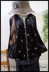 新品*100円〜☆小花刺繍ベロアブルゾン*大きいサイズ*3L/4L