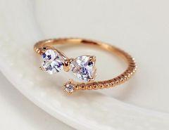 1円〜ダイアモンド フリーサイズ リング 10号〜19号 リボン指輪