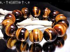 天然石★14ミリAAA虎目石タイガーアイ数珠