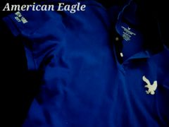 【アメリカンイーグル】Vintage Classic Fit ビッグロゴ ポロシャツ L/Blue