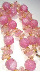 めっちゃカワイイピンクローズ薔薇いっぱいネックレス