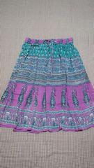 MALAIKA/マライカ膝丈フレアスカート紫×緑柄物アジアンエスニック