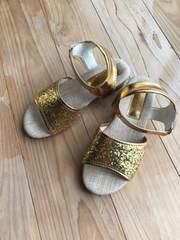 美品 キッズ サンダル ラメ グリッター ゴールド 靴 シューズ 19