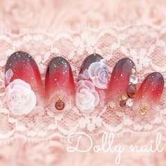 みぢょ!短めオーバル大人ブラウン茶色グラデーション薔薇ローズ浴衣/振袖ネイル