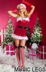 A353)クリスマス☆MusicLegsサンタクロースコスチュームMLコスプレダンス衣装GOGOダンサー