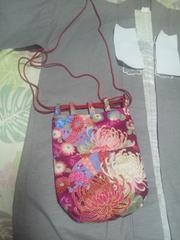 ☆新柄赤紫×着物風流水に大輪花扇子和柄信玄巾着袋リバーシブル